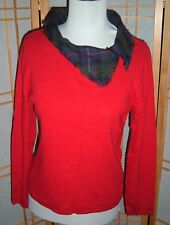 Womens Pink Poodle Brand Red Sweater with plaid collar Long Sleeves SZ M