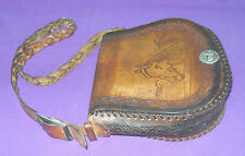VINTAGE 1970/80s THICK SADDLE TOOLED LEATHER HORSE CARTRIDGE SHOULDER BAG
