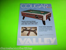 On Sale...VALLEY COUGAR ZD-5 POOL TABLES NOS ORIGINAL PROMO SALES FLYER