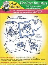 Roses & Hearts Aunt Martha's Hot Iron Embroidery Transfer #3934