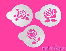 3 pcs Roses Stencil, Cookie Stencil, Reusable Stencil, Schablone