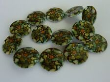 14 pce Lovely Pebble Printed Shell Beads 30mm