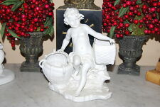 OLD NEOCLASSIC ROMANTIC STYLE WHITE BISQUE CHERUB AND BASKETS CABINET FIGURINE