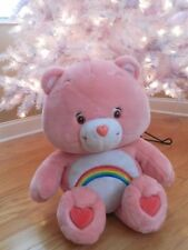 "23"" CARE BEAR 2002 CHEER BEAR Plush Toy PINK RAINBOW Big & Loveable GUC"