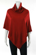 Eileen Fisher Red Wool Pull Over Turtleneck Poncho Size 0