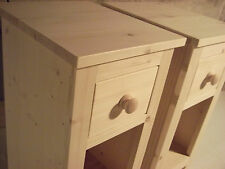 Pair of Narrow Solid Pine Bedside Cabinets (untreated) 27cm wide