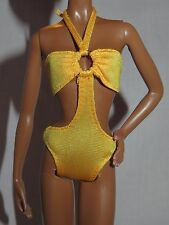 SWIMSUIT ~BARBIE DOLL MODEL MUSE YELLOW BASICS 08 003 PEEKABOO BATHING SUIT