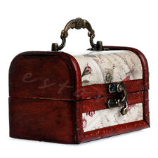 New Vintage Stamp Metal Lock Jewelry Treasure Chest Case With handles Wooden Box
