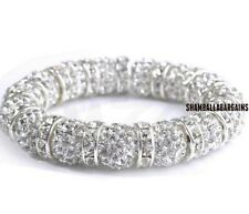 4pcs/lot 10mm men women disco pave ball Beads Crystal Shamballa Bracelet bangle