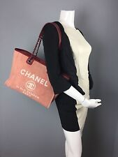 Authentic Chanel 31 Rue Cambon  Deauville  Medium Tote Bag Red Chain  US SELLER