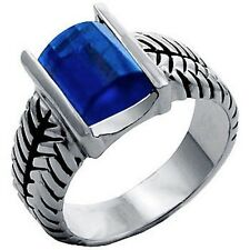 Silver Sapphire Cocktail Ring Montana Blue Cubic Zirconia Cable Plus Size 11 USA