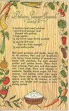 VINTAGE 1950's GARDEN VEGGIES SAUSAGE MEAT CASSEROLE RECIPE NOTE CARD ART PRINT