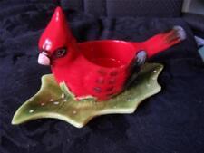Yankee Candle Tea Light Votive Red Cardinal Bird and Holly Leaf Holder