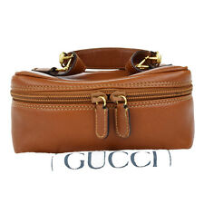 Authentic GUCCI Logos Cosmetics Pouch Vanity Bag Leather Brown Italy 08S686
