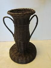Antique Victorian Wicker Wrapped Glass vase handle basket 1900s  Original Brown