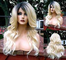 USA // BABY HAIR Wavy Blonde HEAT OK Lace Front & Part Wig w/ Dark Roots