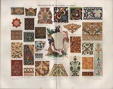 Chromo-Lithografie 1896: ORNAMENTE IV (17/18. Jahrh. und Asien). Malerei KUNST