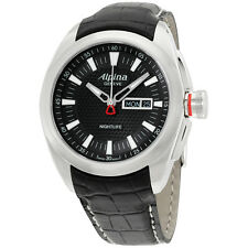 Alpina Nightlife Club Black Dial Leather Strap Men's Watch AL242B4RC6