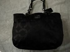 RARE Coach 15746 Mia Signature OP Art Lurex Shoulder Bag Tote Black Barely Used