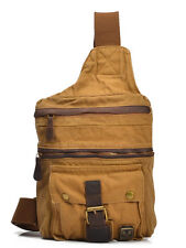 NEW Vintage Canvas & Leather Chest Pack Backpack, Shoulder Messenger Bag Satchel