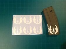 """JEDI SYMBOL"" Magazine Sticker 6 Pack, Star War, AR 15, AK, WHITE!"