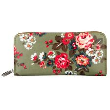 Green Vintage Style Floral Clutch Purse Wallet - Flower Design Retro Zip Around