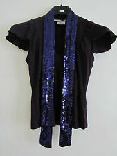 Purple Sequin Tie Neck Evening Top in Size 8 Petite by Next