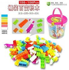 104X Plastic Children Kid Puzzle Educational Building Blocks Brick Toy Animal