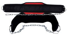 EVO Weightlifting dip belt Neoprene Gym Support Straps GEL Wraps with Chain Fits