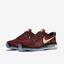 Nike Flyknit AirMax Mens 9.5 Shoes Black/Red/Citrus/Summit White 620469-011
