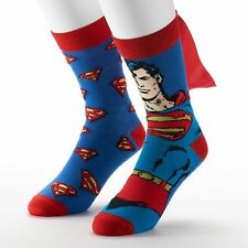 Superman - Men's Crew Cape Socks - 2 Pair - Cape - DC Comics - Stocking Stuffer