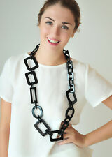NECKLACE: BLACK LONG BUFFALO HORN LINK CHAIN , BIG CHAINMAILLE  HANDMADE JEWELRY