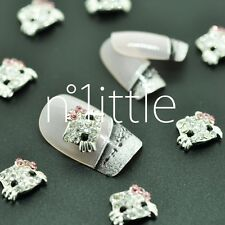 10 Pcs Alloy Jewelry 3D Hello Kitty Rhinestone Nail Art Glitters Slices #N509-06
