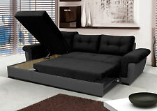 NEW Corner Sofa Bed with Storage, Black Fabric + Grey Leather. Very COMFORTABLE!