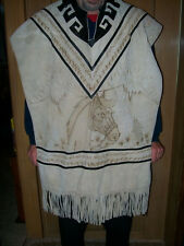 Vintage Mens/Womans Suede Leather Fringed  Poncho