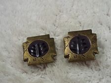 Brasstone Purple Egyptian Revival Square Clip-On Earrings (A63)