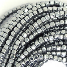 "3mm hematite cube nugget beads 16"" strand silver color"