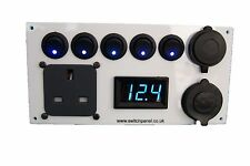 Vauxhall Vivaro 12V/240V White Switch Panel Voltmeter USB Cigarette Socket
