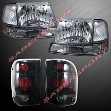 1998-2000 FORD RANGER EURO CLEAR HEADLIGHTS + CORNER + BLACK SMOKE TAIL LIGHTS