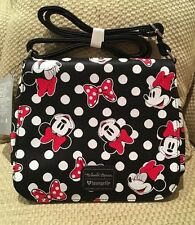 NWT DISNEY STORE LOUNGEFLY MINNIE MOUSE CROSSBODY SHOULDER BAG BOWS POLKA DOTS
