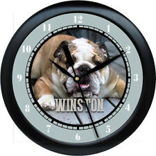 Personalized English Bulldog  Wall Clock Water Color Art Pet Gift Decor