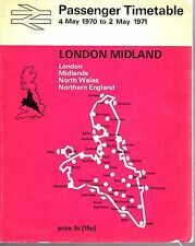 British Rail Passenger Timetable London Midland C/W Network Map 1970 /1971 9585E