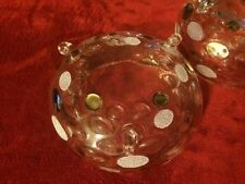 Vintage Bohemian Czech Crystal Optic Coin Dot  Bowls Rare Set Of 3 Beautiful!