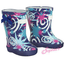 """Blue Star Print Wellie Rain Boots for 18"""" American Girl Doll Clothes Shoes"""