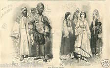 Fashion Mode Costume Uniforms Robe Dress Orient Orientals GRAVURE OLD PRINT 1867