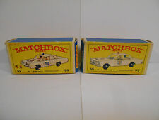 Vintage MATCHBOX POLICE CAR #55 BOXES ONLY Lot of 2 Diff. Box Variations NO CARS