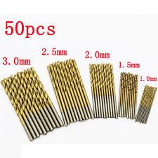 50Pcs/Set Twist Drill Bits Saw HSS High Steel Titanium Coated Drill Wood & Metal