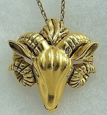 Russian Ram's Head Pendant and Chain 24k Gold-Plate Ram's Head Charm & Chain