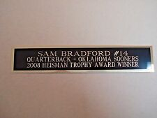 Sam Bradford Oklahoma Sooners Nameplate For A Football Display Case 1.25 X 6