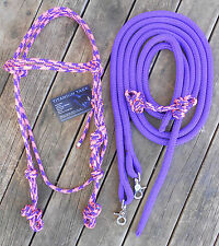 COMPLETE BRIDLE - HEADSTALL,CHIN STRAP & 6FT SPLIT REINS Purple/Pink - PRO MADE-